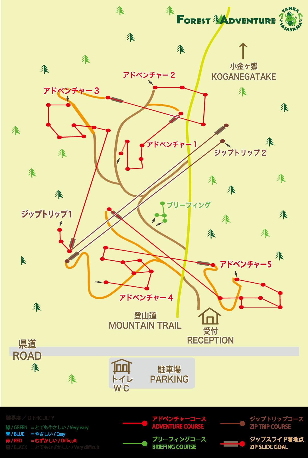 フォレストアドベンチャー丹波ささやま・コースマップ
