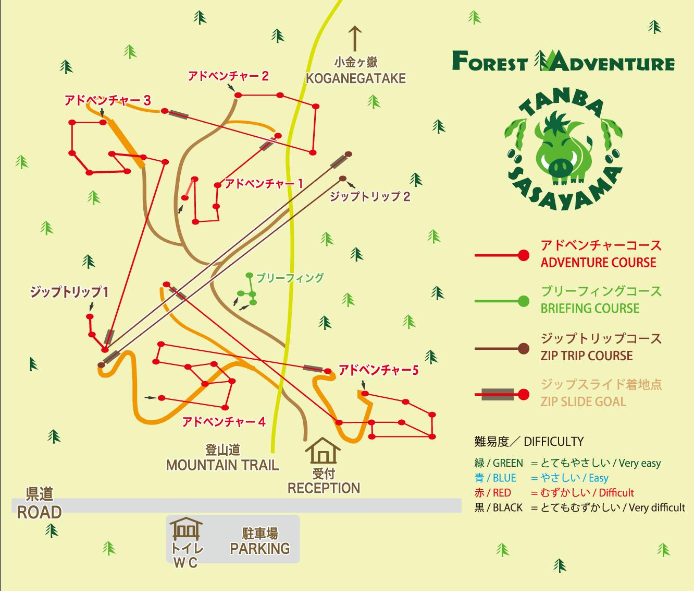 フォレストアドベンチャー丹波ささやま コースマップ